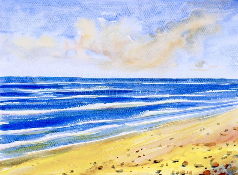 Vista sul mare dell'acquerello che dipinge variopinta della vista del mare, spiaggia illustrazione vettoriale