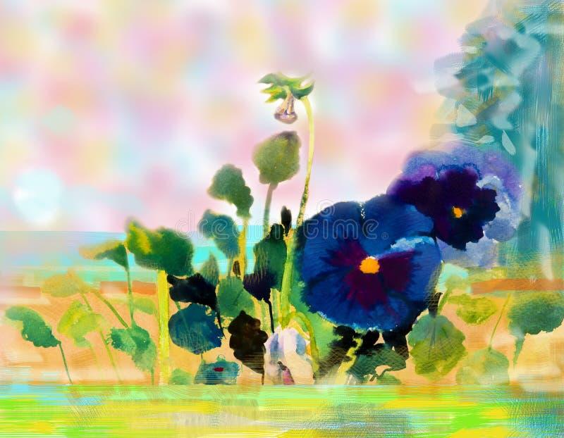 Vista sul mare dell'acquerello che dipinge variopinta di bellezza blu del fiore illustrazione di stock