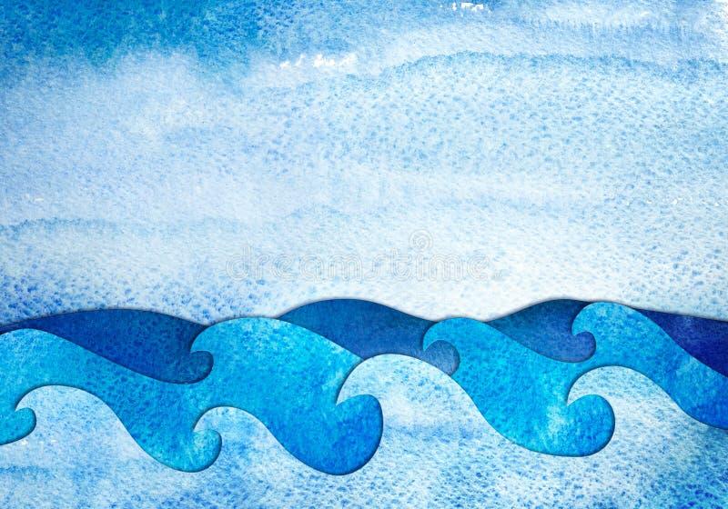 Vista sul mare di applique dell'acquerello illustrazione vettoriale