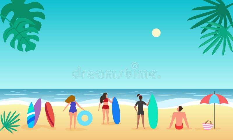 Vista sul mare di estate con la palma e la gente illustrazione vettoriale