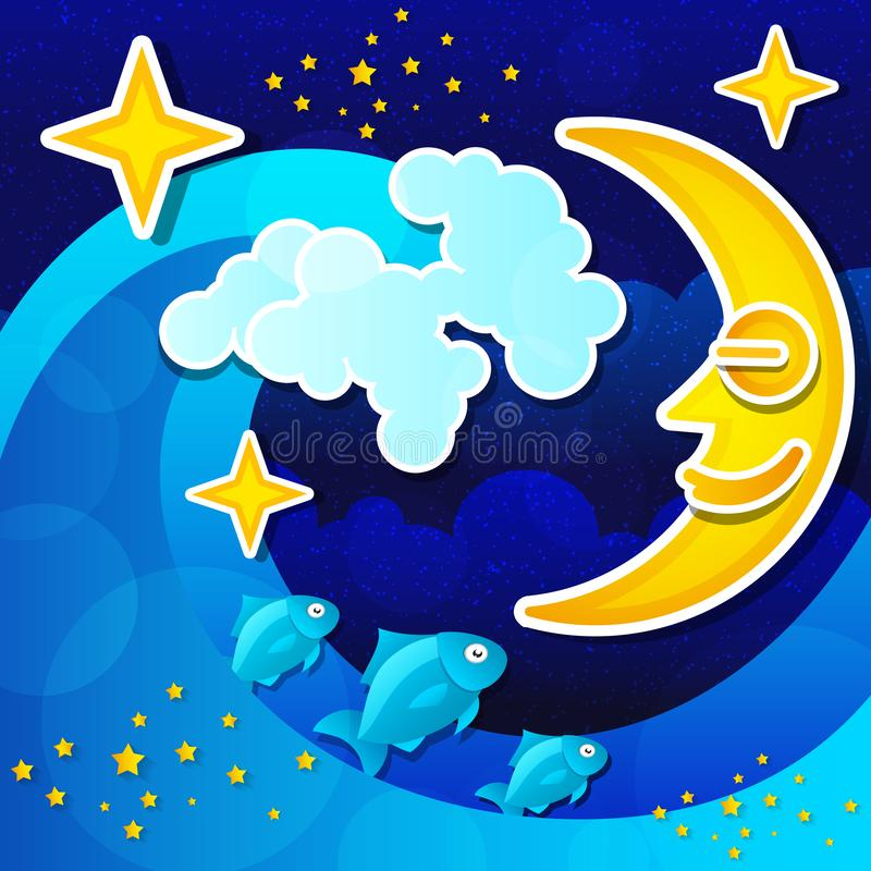 Vista sul mare di notte con la luna piena ed il cielo stellato Vettore royalty illustrazione gratis
