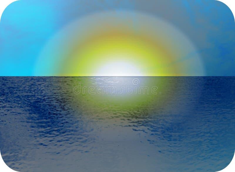 Vista sul mare di tramonto illustrazione vettoriale