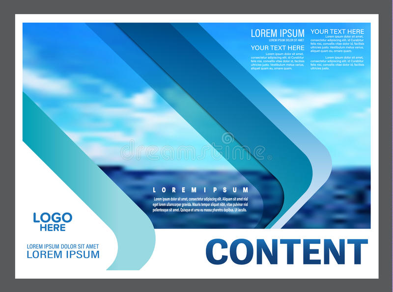 Vista sul mare e fondo del modello di progettazione della disposizione di presentazione del cielo blu per l'affare di viaggio di  illustrazione di stock