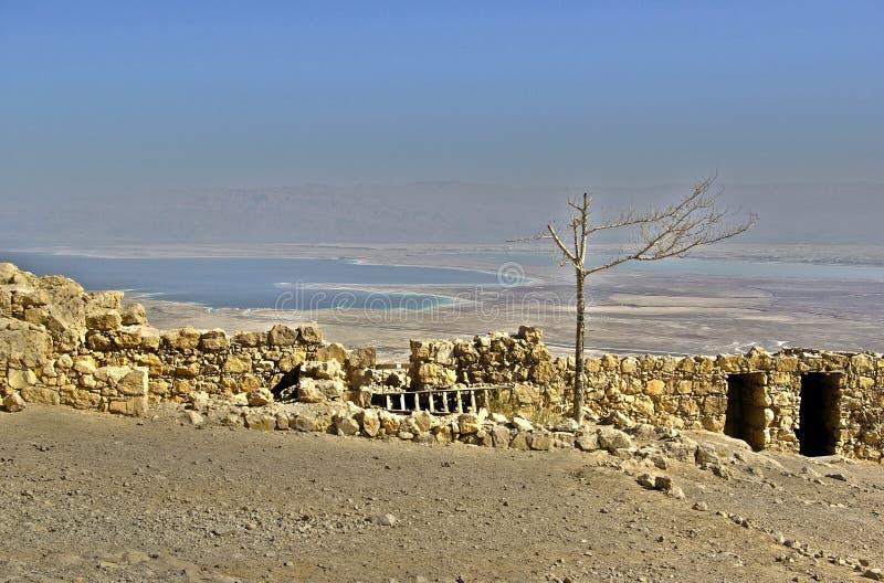 Vista sul mare guasto dalla fortezza di Masada fotografia stock libera da diritti