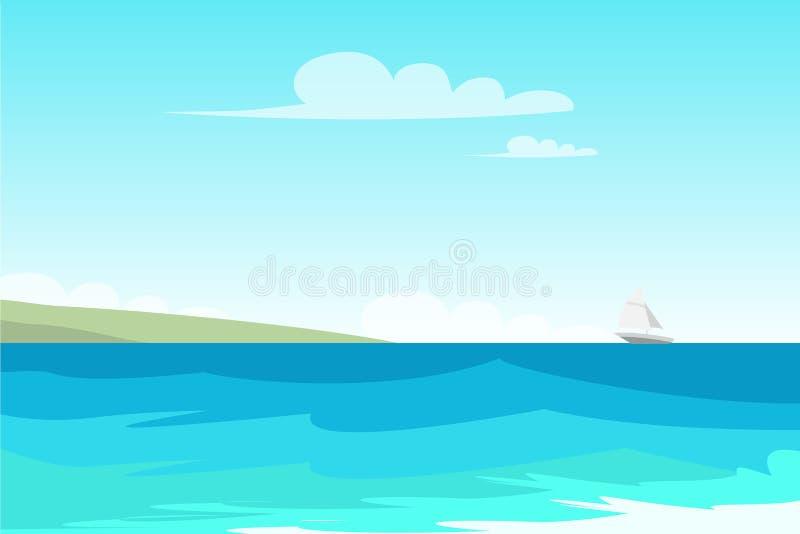 Vista sul mare, illustrazione di colore piana di vettore della spiaggia royalty illustrazione gratis