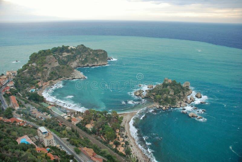Vista sul mare Italia di Taormina immagini stock