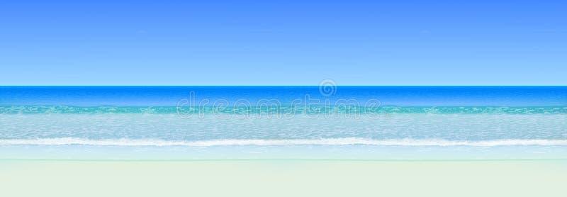 Vista sul mare realistica di vettore Oceano del mare con l'orizzonte e la spiaggia Cenni storici senza giunte orizzontali illustrazione vettoriale