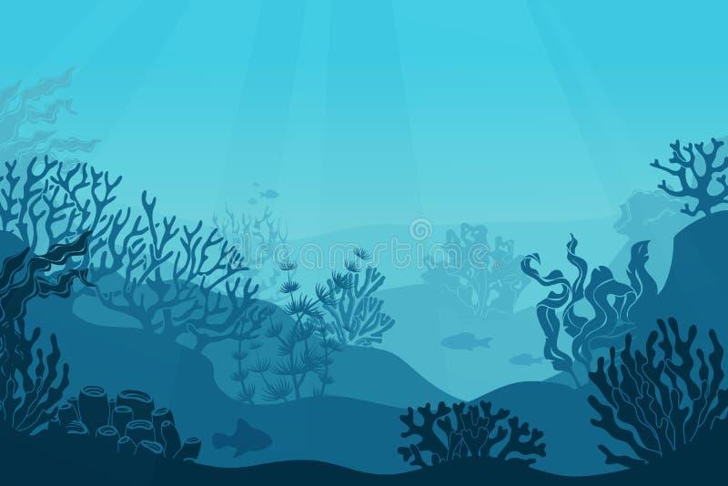 Vista sul mare subacquea Fondo del mare, subacqueo con alga Acqua salata scura con le siluette dei coralli Fondo della scogliera  illustrazione vettoriale