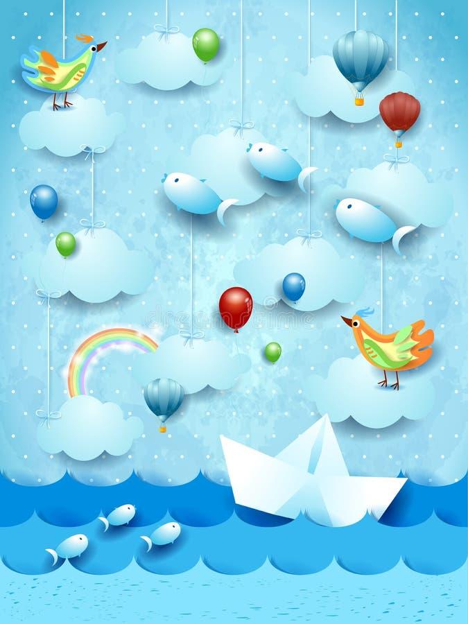 Vista sul mare surreale con il crogiolo, i palloni, gli uccelli ed i pesci volanti di carta fotografia stock
