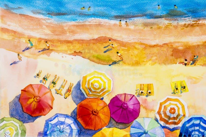 Vista sul mare variopinta degli amanti, vacanza dell'acquerello della pittura di famiglia illustrazione vettoriale