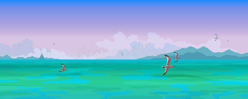 Vista sul mare Volata dei gabbiani e delle barche a vela illustrazione di stock