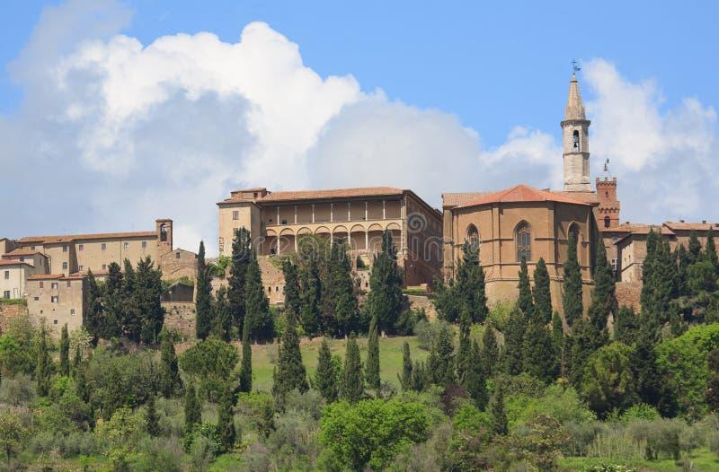 Vista sul Pienza in Toscana fotografia stock