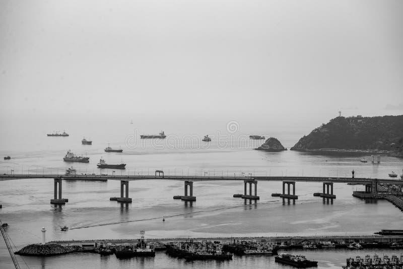 Vista sul ponte in città di Busan immagini stock