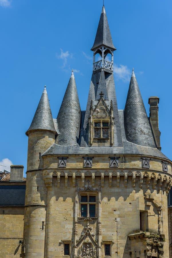 Vista sul Porte Cailhau, Bordeaux, Francia Copi lo spazio per testo verticale fotografia stock libera da diritti