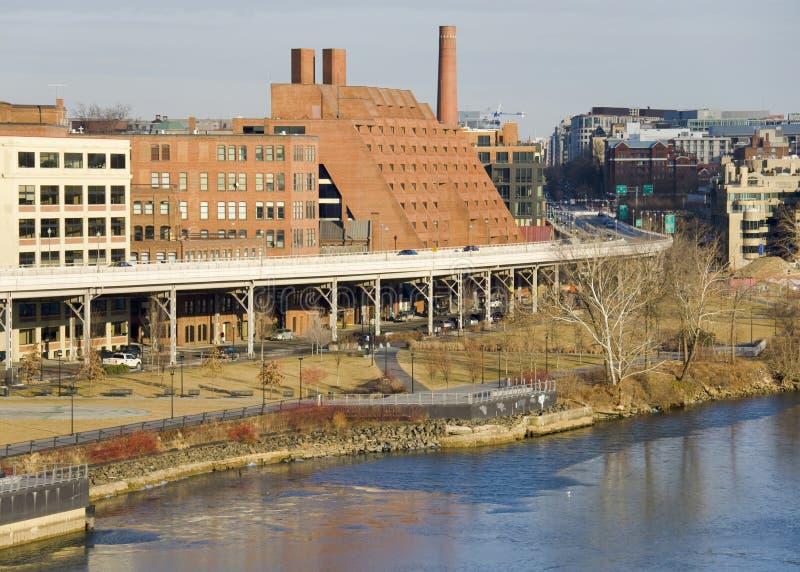 Vista sul Washington DC dal ponticello chiave fotografia stock