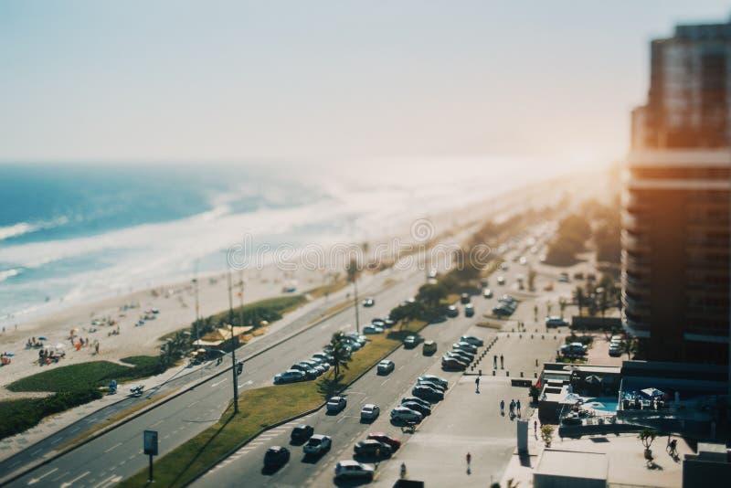 Vista sull'oceano, spiaggia, linea costiera di Rio de Janeiro immagine stock libera da diritti