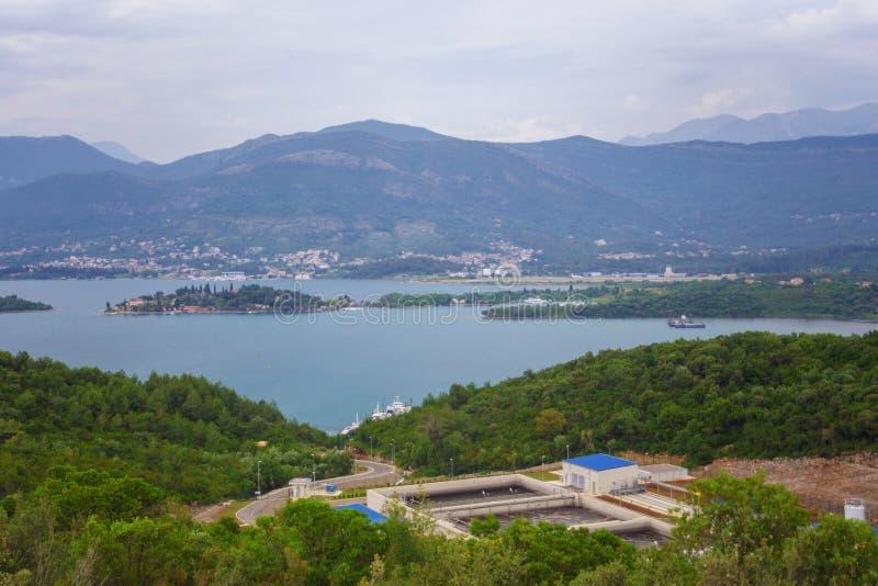 Vista sulla baia Montenegro di kotor fotografia stock