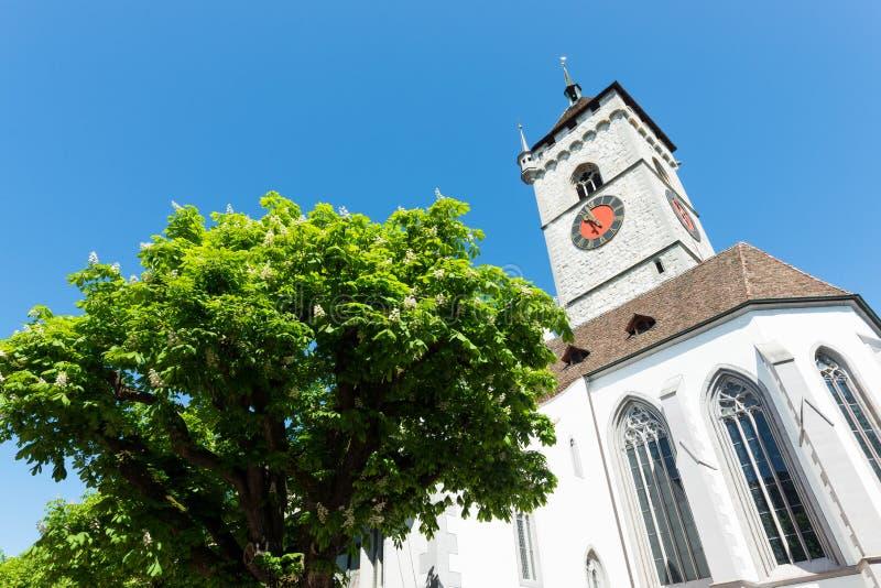 Vista sulla chiesa famosa di St.Johann, Sciaffusa, Svizzera. fotografie stock libere da diritti