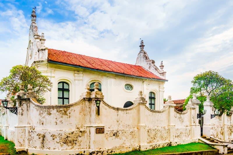 Vista sulla chiesa riformata olandese nella fortificazione di Galle, Sri Lanka immagini stock libere da diritti