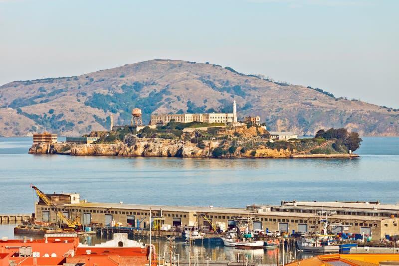 Vista sulla prigione di Alcatraz, San Francisco fotografie stock libere da diritti