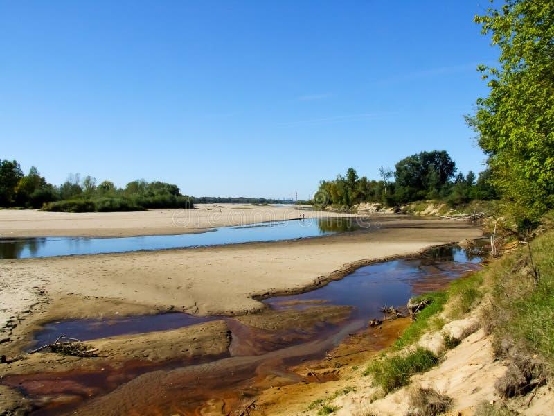 Vista sulla riva del fiume selvaggia della Vistola in Jozefow vicino a Varsavia in Polonia fotografia stock libera da diritti