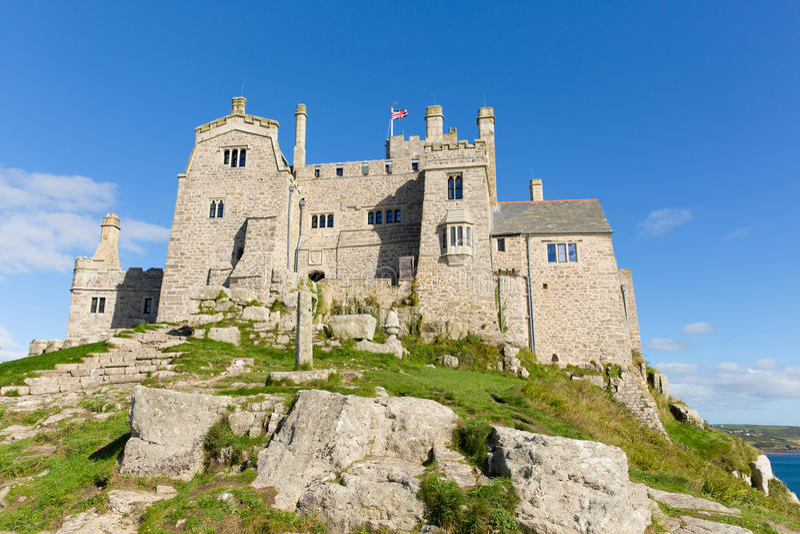 Vista sulla st Michaels Mount Marazion Cornwall England Regno Unito immagini stock libere da diritti