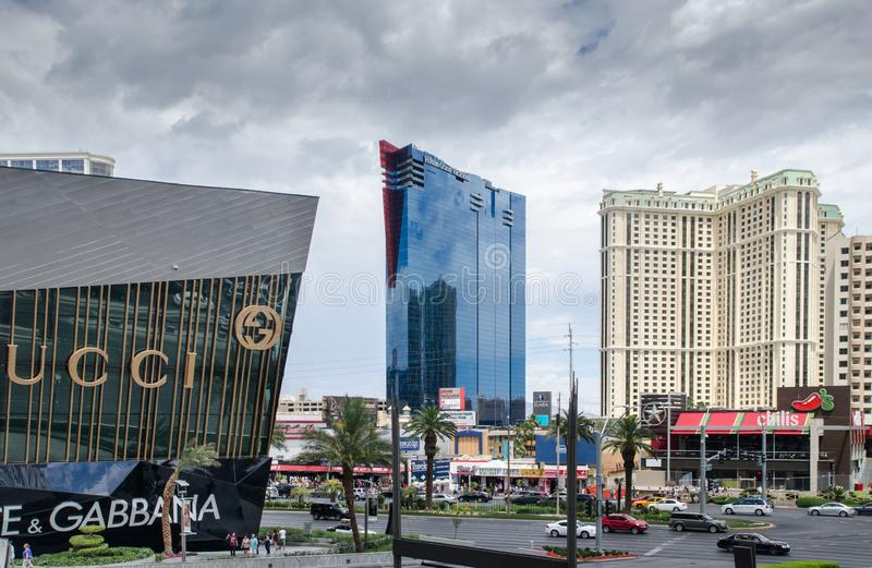Vista sulla striscia principale del boulevard di Las Vegas fotografie stock libere da diritti