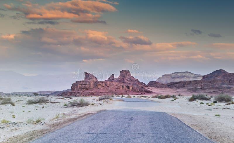 Vista sulla valle del parco geologico di Timna, Israele fotografia stock libera da diritti