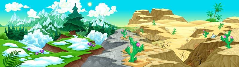 Vista sulle montagne e sul deserto royalty illustrazione gratis