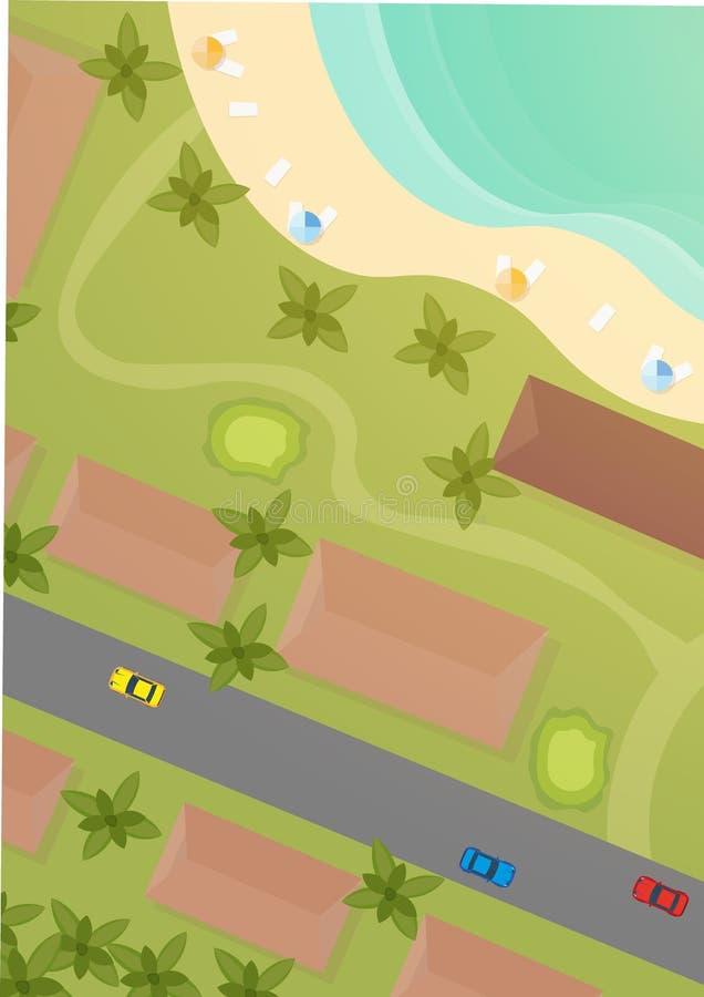 Vista superior aérea de la ciudad, del mar y de la playa stock de ilustración