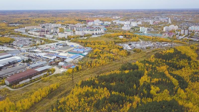Vista superior aérea de los árboles hermosos del otoño y el área industrial de la ciudad con los edificios clip Muchos coches móv foto de archivo libre de regalías