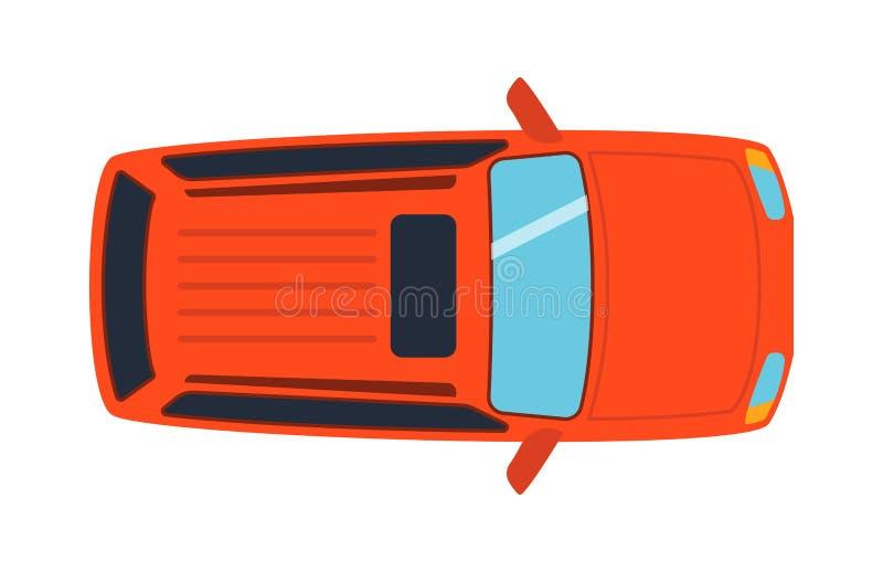 A vista superior aérea no transporte de automóvel colorido do brinquedo do carro e o transporte da roda projetam o veículo motori ilustração royalty free