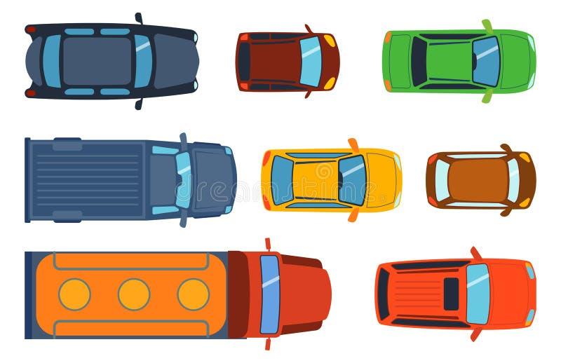 A vista superior aérea no transporte de automóvel diferente do recolhimento dos brinquedos coloridos do carro e o transporte da r ilustração royalty free