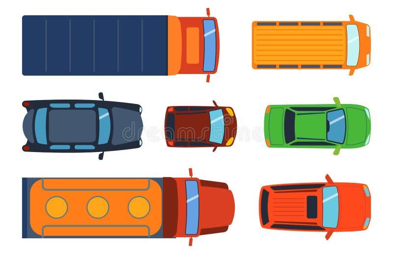 A vista superior aérea no transporte de automóvel diferente do recolhimento dos brinquedos coloridos do carro e o transporte da r ilustração do vetor