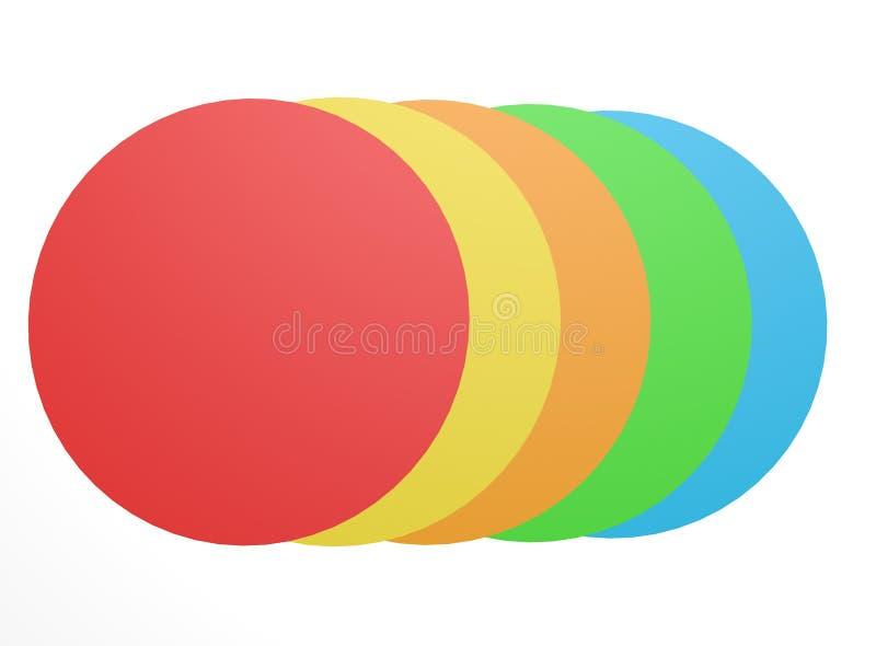Vista superior com formas geométricas circulares coloridas num fundo branco foto de stock royalty free