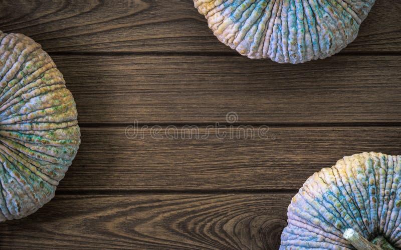 Vista superior da abóbora crua no fundo de madeira da tabela Orgânico fresco imagens de stock