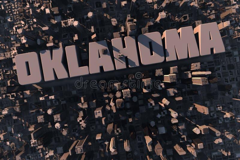 Vista superior da cidade 3D urbana com nome ilustração stock