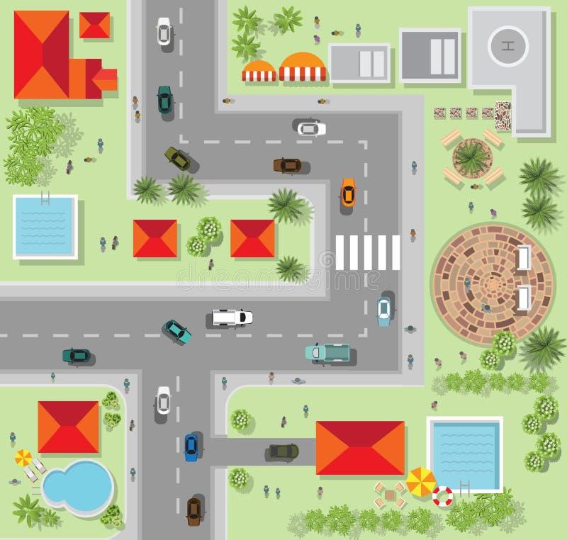 Vista superior da cidade das ruas, estradas, casas, vetor ilustração royalty free