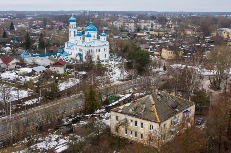 Vista superior da igreja do arcanjo Michael Annunciation do Virgin abençoado, Torzhok, Rússia fotografia de stock royalty free