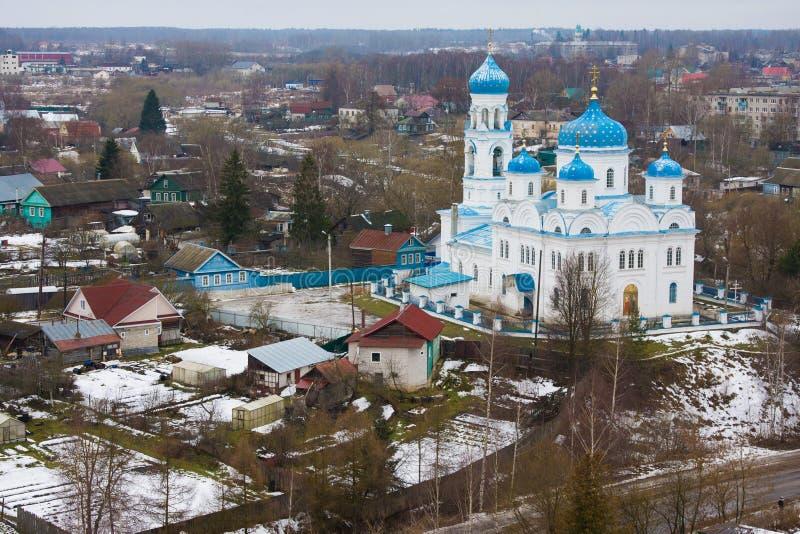 Vista superior da igreja do arcanjo Michael Annunciation do Virgin abençoado, Torzhok, Rússia fotos de stock