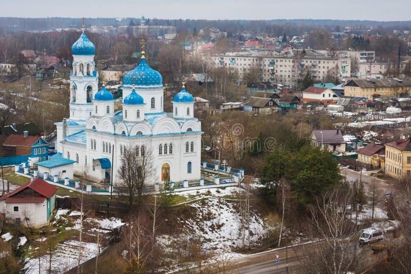 Vista superior da igreja do arcanjo Michael Annunciation do Virgin abençoado, Torzhok, Rússia fotos de stock royalty free