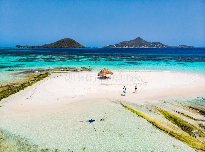 Vista superior da ilha das Caraíbas foto de stock