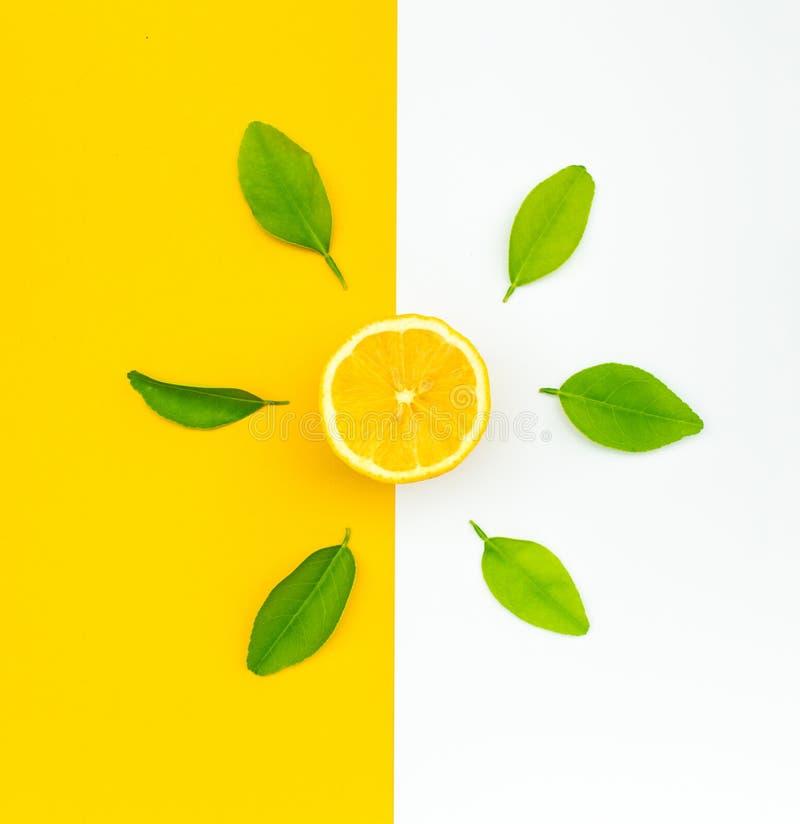 Vista superior da laranja e das folhas no fundo da cor ideias dos conceitos do fruto, vegetal Comer saudável ilustração royalty free