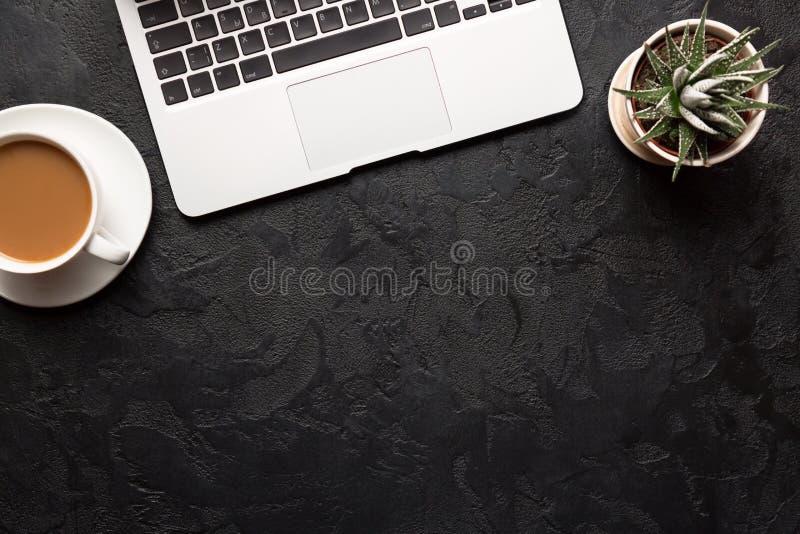 Vista superior da mesa de escritório Planta verde em um potenciômetro, em uma xícara de café e em um portátil de prata moderno no fotografia de stock royalty free