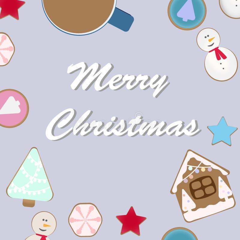 Vista superior da tabela da celebração do Natal com as cookies quentes do cacau e do pão-de-espécie Ilustração do vetor ilustração do vetor
