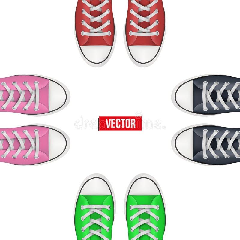 Vista superior das sapatilhas coloridas ilustração royalty free