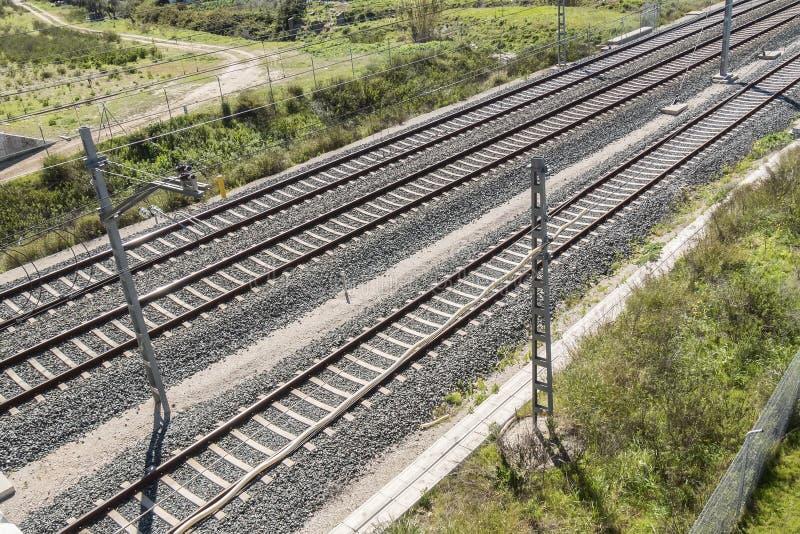 Vista superior das trilhas do trem fotografia de stock