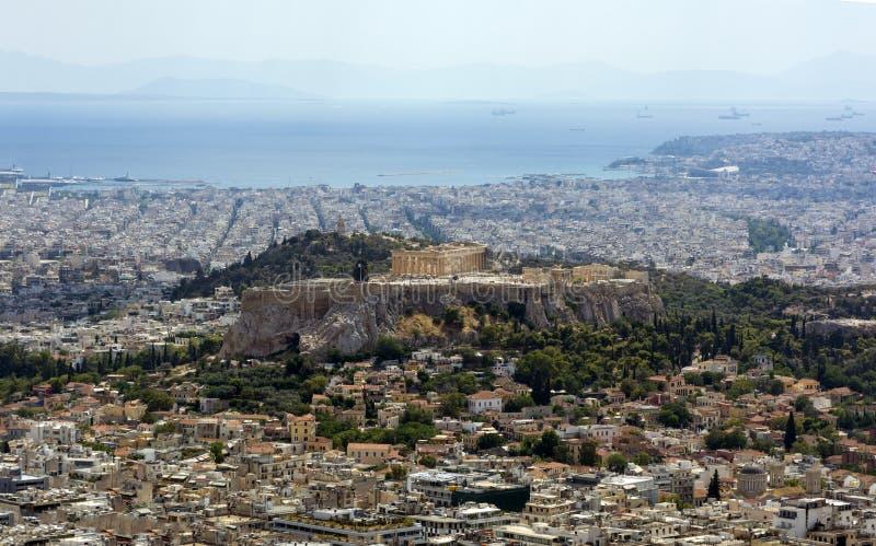 Vista superior de Atenas, vista superior da acrópole, arquitetura da cidade, cidade, fotos de stock royalty free