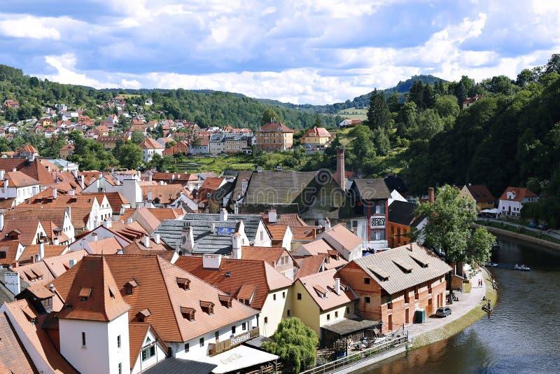 Vista superior de Cesky Krumlov, República Checa fotos de stock