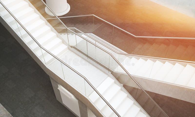 Vista superior de dos escaleras stock de ilustración